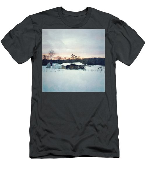 The Farm In Snow At Sunset Men's T-Shirt (Athletic Fit)