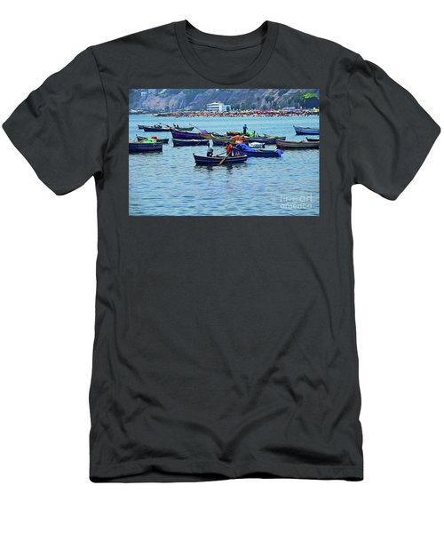 Men's T-Shirt (Slim Fit) featuring the photograph The Fishermen - Miraflores, Peru by Mary Machare