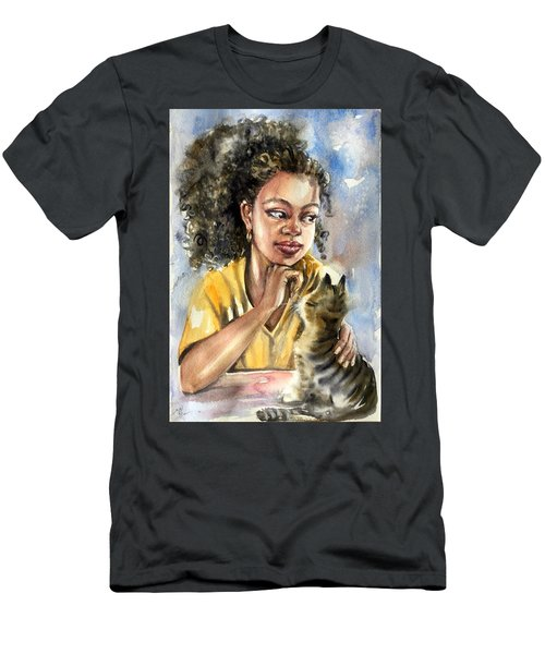 The Girl With A Cat Men's T-Shirt (Athletic Fit)