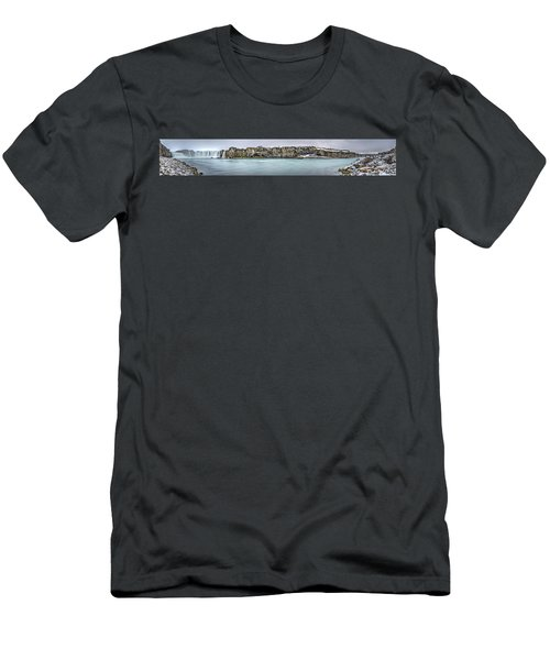 The Godafoss Falls Pano Men's T-Shirt (Athletic Fit)
