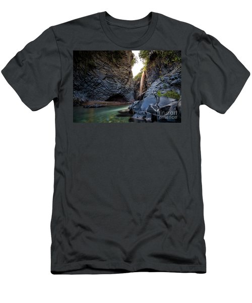 The Golden Waterfall Men's T-Shirt (Slim Fit) by Giuseppe Torre