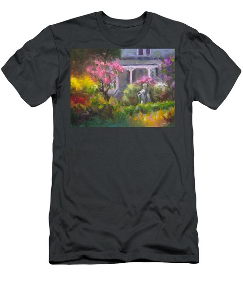 Men's T-Shirt (Athletic Fit) featuring the painting The Guardian - Plein Air Lilac Garden by Talya Johnson
