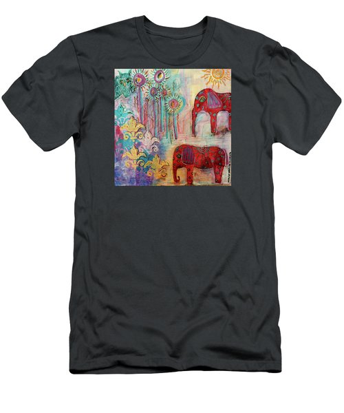 Men's T-Shirt (Slim Fit) featuring the mixed media The Guardians Of Night And Day by Mimulux patricia no No