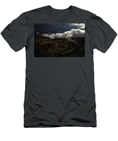 Men's T-Shirt (Slim Fit) featuring the photograph The Jerome State Park With Low Lying Clouds After Storm by Ron Chilston