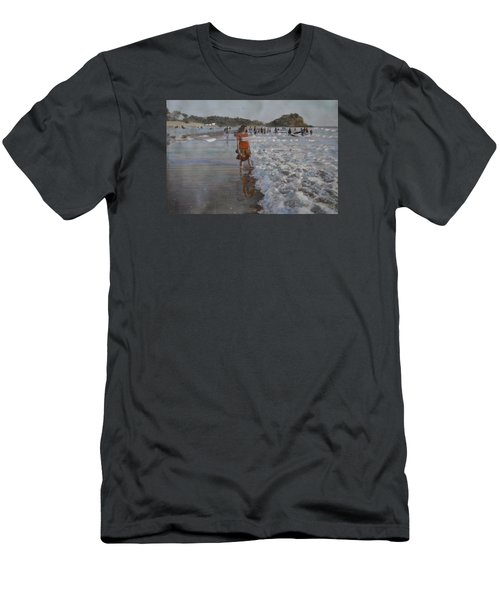 Men's T-Shirt (Slim Fit) featuring the painting The Konkan Beach by Vikram Singh