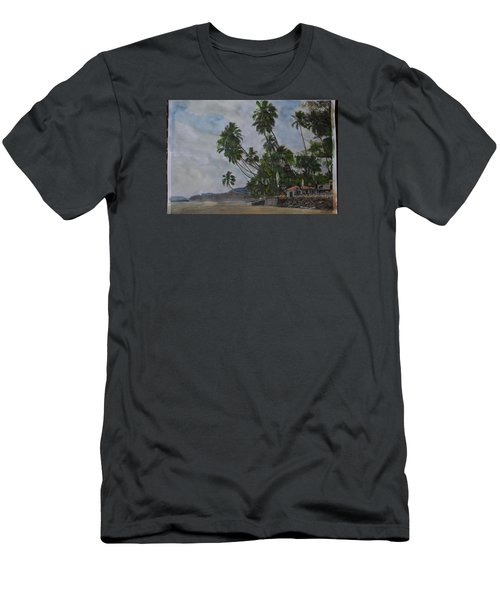 Men's T-Shirt (Slim Fit) featuring the painting The Konkan Coastline by Vikram Singh