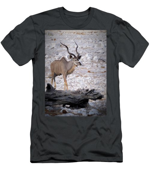 Men's T-Shirt (Slim Fit) featuring the digital art The Kudu In Namibia by Ernie Echols