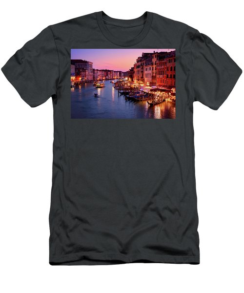 The Blue Hour From The Rialto Bridge In Venice, Italy Men's T-Shirt (Athletic Fit)