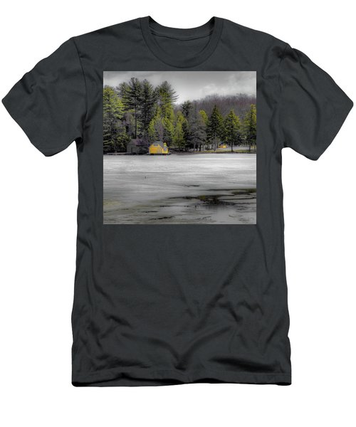 Men's T-Shirt (Slim Fit) featuring the photograph The Lighthouse On Frozen Pond by David Patterson