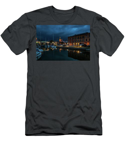 The Little Harbor In Stralsund Men's T-Shirt (Slim Fit) by Martina Thompson