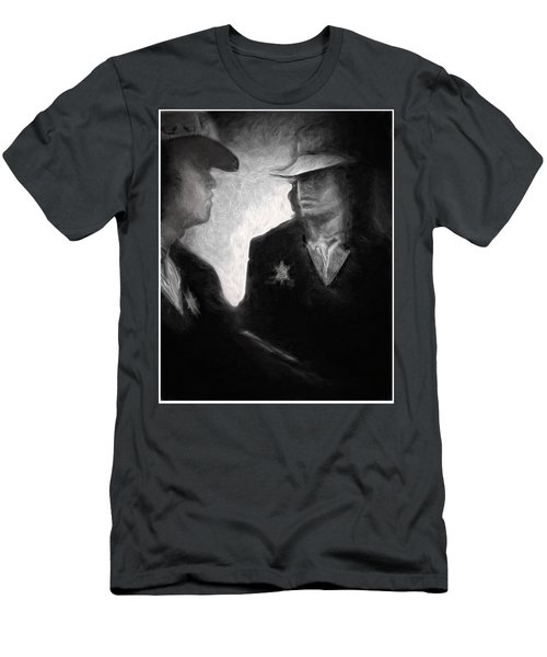 Men's T-Shirt (Slim Fit) featuring the drawing The Looking Glass by Michael Cleere