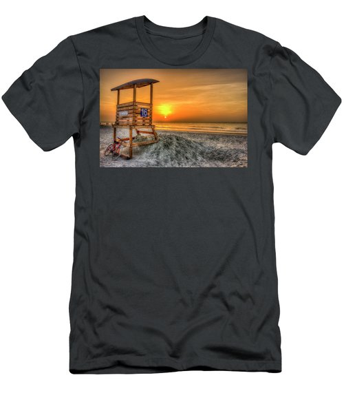 Men's T-Shirt (Athletic Fit) featuring the photograph The Main Attraction Tybee Island Sunrise Lifeguard Stand Beach Art by Reid Callaway