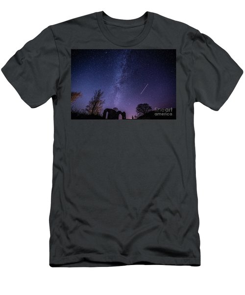 The Milky Way Over Strata Florida Abbey, Ceredigion Wales Uk Men's T-Shirt (Athletic Fit)