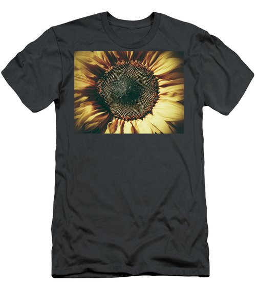 Men's T-Shirt (Slim Fit) featuring the photograph The Not So Sunny Sunflower by Karen Stahlros
