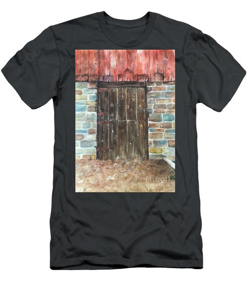 The Old Barn Door Men's T-Shirt (Slim Fit) by Lucia Grilletto