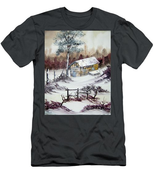 The Old Barn In Winter Men's T-Shirt (Athletic Fit)