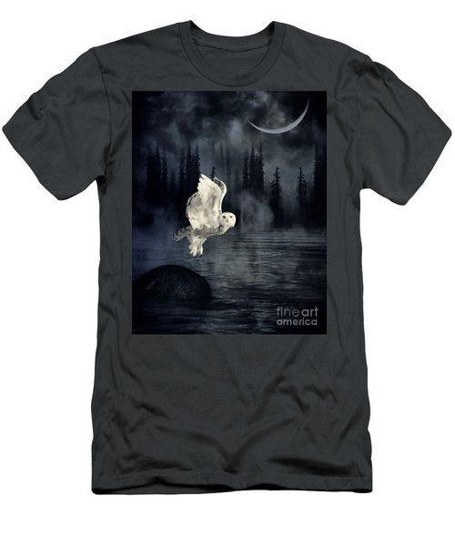 Men's T-Shirt (Slim Fit) featuring the photograph The Owl And Her Mystical Moon by Heather King