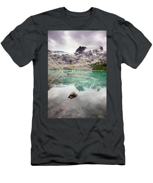Men's T-Shirt (Athletic Fit) featuring the photograph The Peak In A Turquoise Lake by Pierre Leclerc Photography