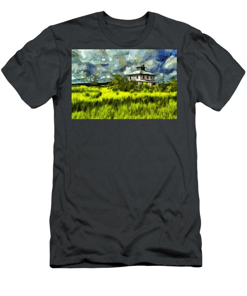 The Pink House In Salt Marsh-van Gogh Style Men's T-Shirt (Athletic Fit)