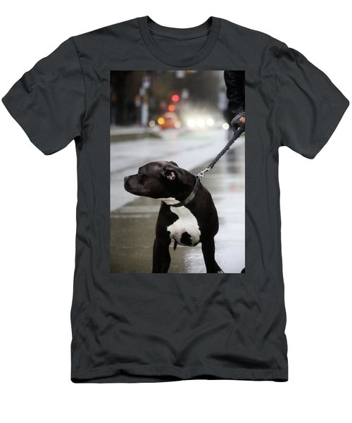 Men's T-Shirt (Slim Fit) featuring the photograph The Pits Of Curbs  by Empty Wall