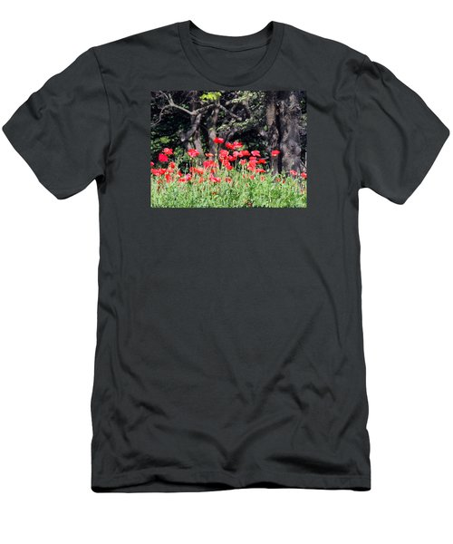 Men's T-Shirt (Slim Fit) featuring the photograph The Poppy Garden by Teresa Schomig