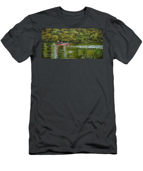 Men's T-Shirt (Slim Fit) featuring the painting The Red Punt by Murray McLeod