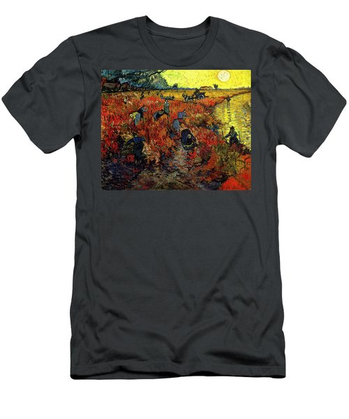 Men's T-Shirt (Athletic Fit) featuring the painting The Red Vineyard At Arles by Van Gogh