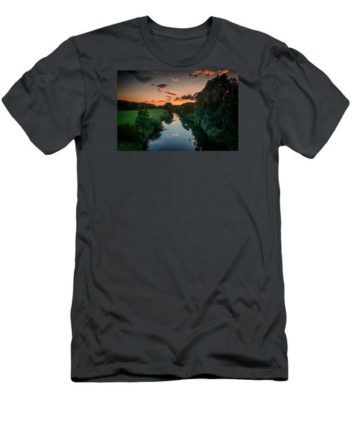 The River Lippe In Lower Rhine Region Men's T-Shirt (Slim Fit) by Sabine Edrissi