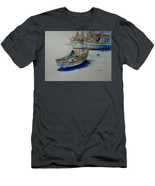 Men's T-Shirt (Slim Fit) featuring the painting The San George by Ray Agius