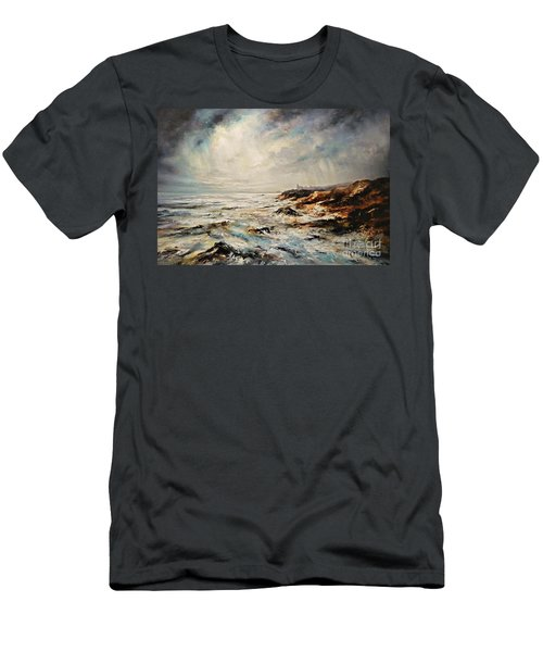 Men's T-Shirt (Slim Fit) featuring the painting The Sea  by AmaS Art