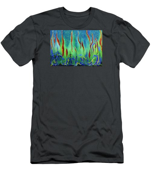 Men's T-Shirt (Slim Fit) featuring the painting The Secret World Of Water And Fire by AmaS Art