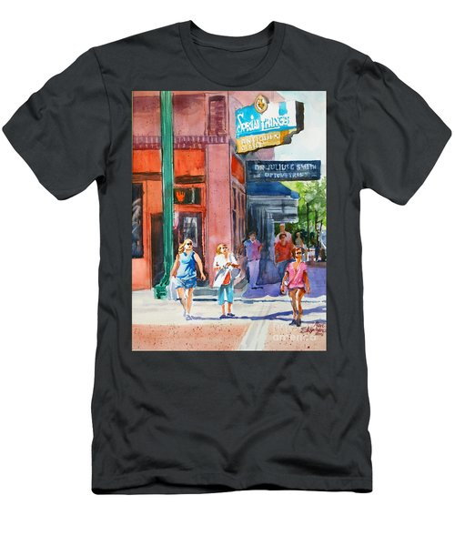 Men's T-Shirt (Slim Fit) featuring the painting The Shoppers by Ron Stephens