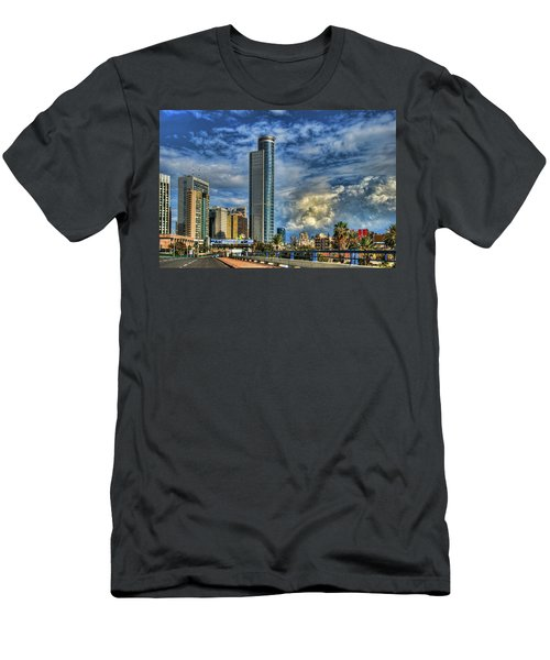 Men's T-Shirt (Slim Fit) featuring the photograph The Skyscraper And Low Clouds Dance by Ron Shoshani