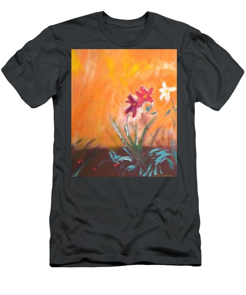 Men's T-Shirt (Slim Fit) featuring the painting The Three Daisies by Winsome Gunning