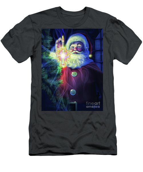 Men's T-Shirt (Slim Fit) featuring the painting The True Spirit Of Christmas - Bright by Dave Luebbert