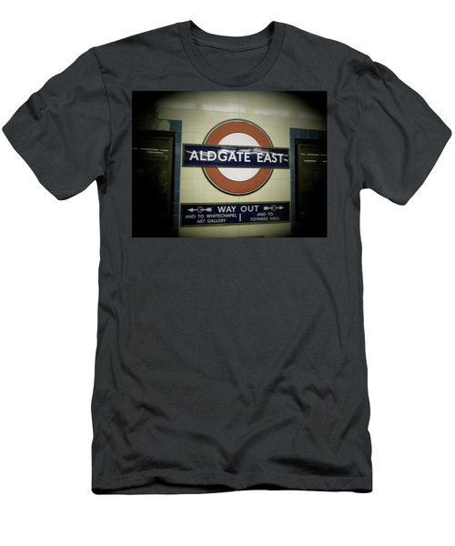 Men's T-Shirt (Slim Fit) featuring the photograph The Tube Aldgate East by Christin Brodie