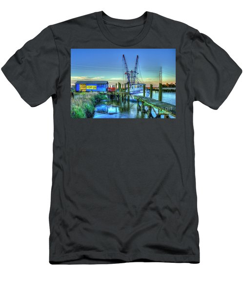 Men's T-Shirt (Athletic Fit) featuring the photograph The Waiting Shrimper Tybee Island Dawn Art by Reid Callaway