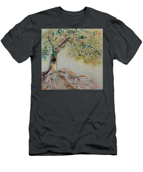 Men's T-Shirt (Slim Fit) featuring the painting The Wisdom Tree by Joanne Smoley