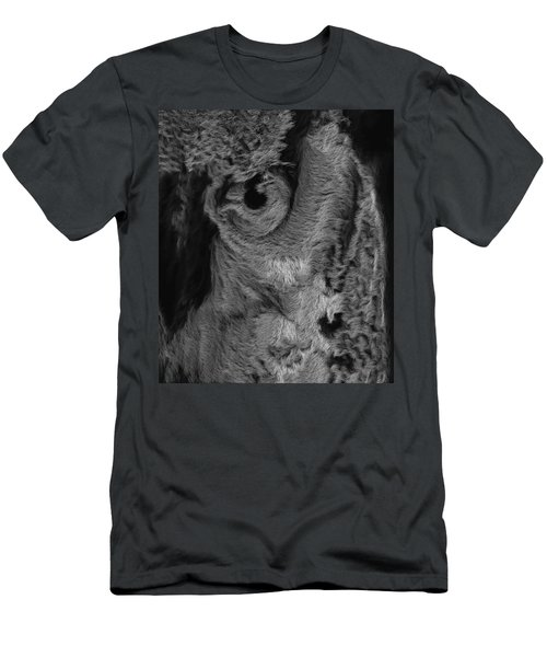 The Old Owl That Watches Blk Men's T-Shirt (Slim Fit) by ISAW Gallery