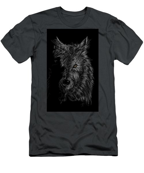 Men's T-Shirt (Athletic Fit) featuring the digital art The Wolf In The Dark by Darren Cannell