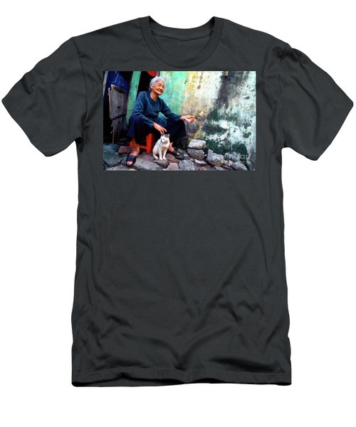 Men's T-Shirt (Athletic Fit) featuring the photograph The Woman And The Cat by Silva Wischeropp