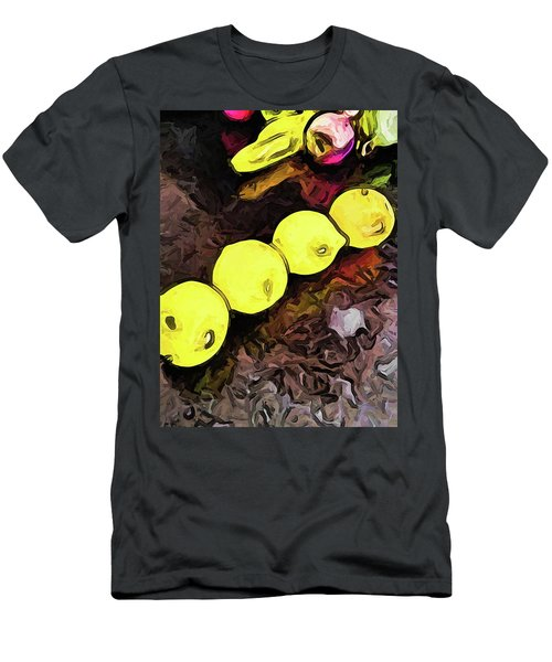 The Yellow Lemons In A Row And The Pink Apple Men's T-Shirt (Athletic Fit)