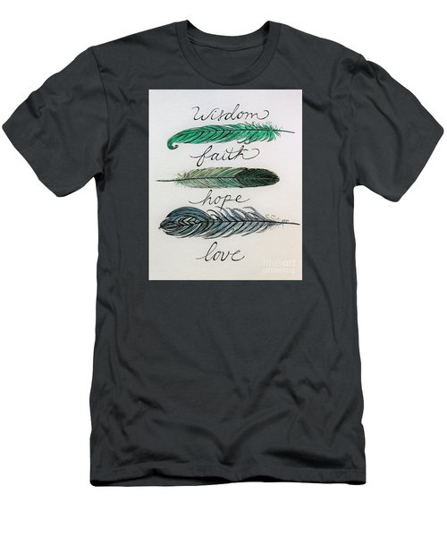 These Feathers Men's T-Shirt (Slim Fit) by Elizabeth Robinette Tyndall