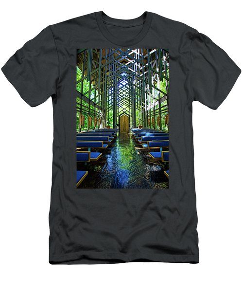 Men's T-Shirt (Slim Fit) featuring the photograph Thorncrown Chapel Serenity by Cricket Hackmann