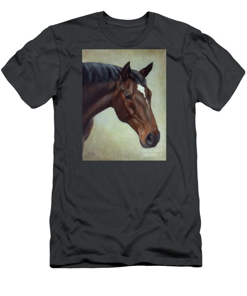 Thoroughbred Horse, Brown Bay Head Portrait Men's T-Shirt (Athletic Fit)