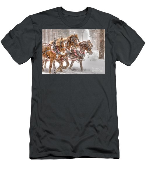 Three Horses - Color Men's T-Shirt (Athletic Fit)