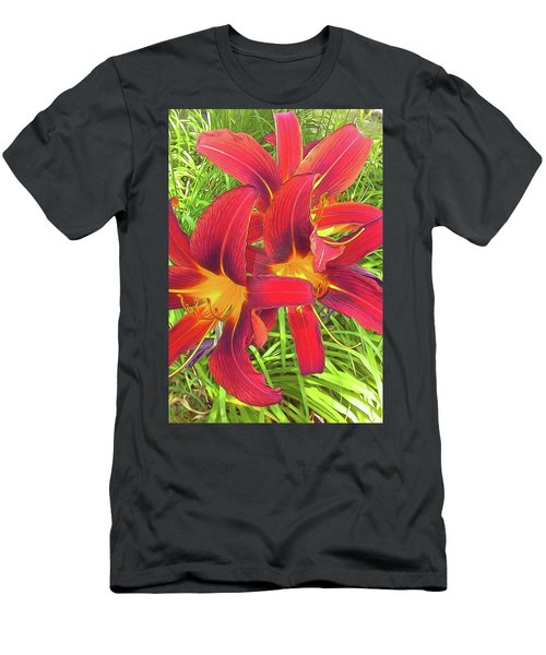 Three Red Tiger Lilies Men's T-Shirt (Athletic Fit)