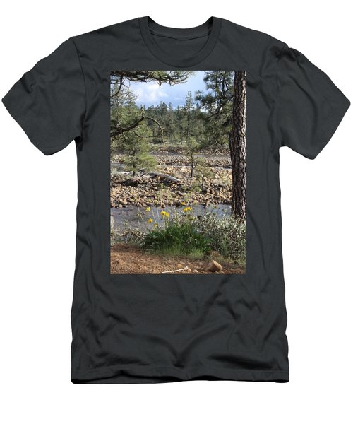 Men's T-Shirt (Slim Fit) featuring the photograph Three Rivers In One by Marie Neder
