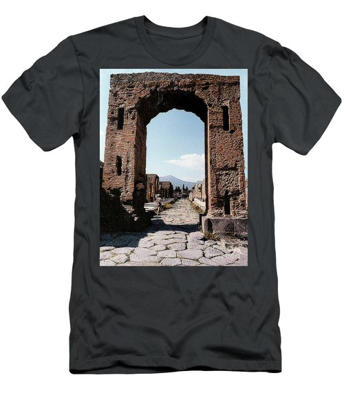 Men's T-Shirt (Athletic Fit) featuring the photograph Through The Arched City Gate Into Reclaimed Pompei, Italy by Merton Allen