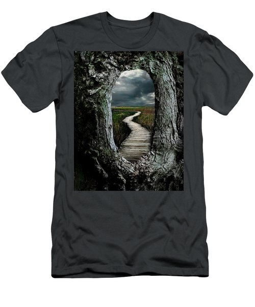 Through The Knot Hole Men's T-Shirt (Slim Fit) by Rick Mosher